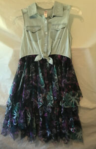 Justice Dress. Sleeveless. Blue Top. Multi Layer Butterfly Skirt. Size 10. NWT.