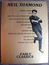 Neil Diamond Early Classics Vintage Music Book 1978 Tallyrand Music