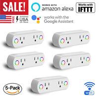 2 in 1 WiFi Smart Plug Socket Switch Works with Alexa Echo/Google Home/IFTTT US