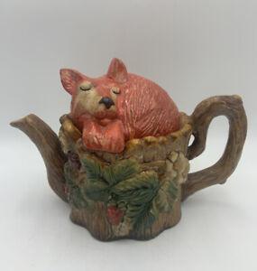 Vintage Majolica Teapot Sleeping Fox Decorative