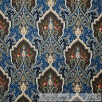 BonEful FABRIC FQ Cotton Quilt Blue Brown Paisley Flower Damask French Country L