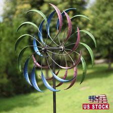 "79""H Metal Kinetic Rainbow Wind Spinner Outdoor Yard Art Decor,Multicolor"
