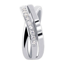 925 Sterling Silver Cubic Zirconia Overlapping Ring Size 5