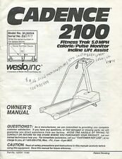 vintage 1990 Weslo Cadence 2100 treadmill owners manual