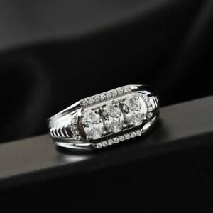 Men's Engagement Wedding Breathtaking Ring 2.9CT Oval Cut Diamond 14K White Gold
