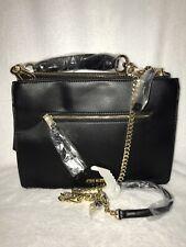Steve Madden Black & Gold BFAYE Large Satchel Handbag Purse Crossbody Tassel NEW