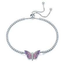 "925 Sterling Silver Purple Pink CZ Butterfly Adjustable Tennis Bracelet 6""+2.5"""