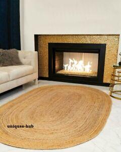 oval rug 100% natural braided jute handmade reversible vintage outdoor rag rugs