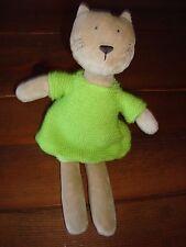 Little JellyCat pitpat Gatito Gato usando Verde Vestido Tejido 11 pulgadas de alto