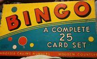 Vintage Milton Bradley Bingo Game 4127-S 1939 COMPLETE Rare Box