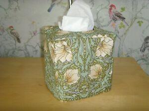 HANDMADE CUBE TISSUE BOX  COVER IN GREEN WILLIAM MORRIS PIMPERNEL ART DEC PRINT