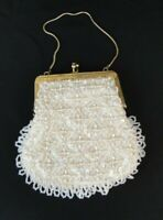 Womens Purse White Beaded Sequined Bag Evening Gold Tone Chain Strap Iridescent