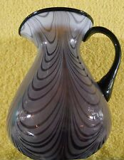 Fenton Glass Pitcher Dave Fetty Aubergine Purple Backstamp Opalescent Drape VG
