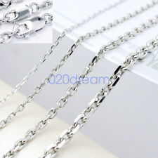 Fashion 925 Sterling Silver Square Link Chain Womens/Mens Necklace 16-30 Inch