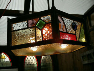 c1910 British Arts & Crafts Leaded Stained Glass Ceiling 3 Light Chandelier