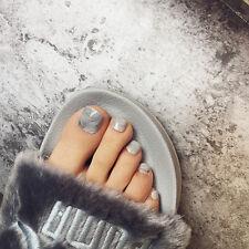 24 Pcs Toe Fake Nails Holiday Grey Marble Square Nail Tips Full Nail Art Tools