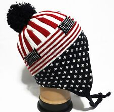Team USA flag beanie Ski Hat cap Warm Knitted Super Soft  with Fleece lining