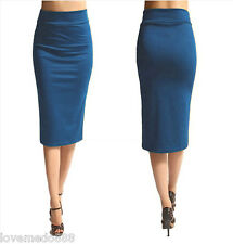 Womens HIGH Waisted Wear to Work Casual SLIMMING FIT Midi Skirt Dress BLUE (XL)