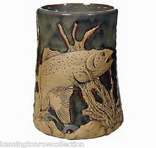 "Mugs - ""Trout Fishing"" Handmade Pottery Mug - Sage Green - 3D Tankard"