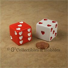 NEW 2 Sweetheart Dice Jumbo 25mm 1 inch D6 Red & White Hearts Pair Valentine