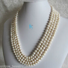 "90"" 6-8mm White Cultured Freshwater Pearl Necklace Natural Color"