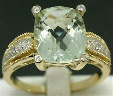 6.5ct Green Amethyst & 10 Diamond 9ct 375 Solid Gold Ring - 30 Day Returns