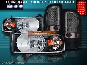 1994-2001 DODGE RAM 1500 BLACK HEADLIGHTS LED AMBER + SMOKE LED TAIL LIGHTS