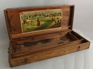 Antique Victorian Horseman's 1880s Flat Lawn Tennis Racket Set Original Wood Box