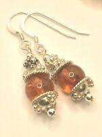 BALTIC AMBER 92.5 STERLING SILVER EARRINGS NATURAL GEMSTONE SHORT DROP 1.4 INCH