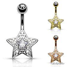 Bauchnabelpiercing Nabel Piercing Stecker Stern Silber Gold & Rosegold