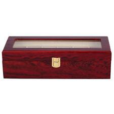 6 Wood Watch Display Case Box Glass Top Jewelry Storage Organizer Gift Men L4D1