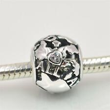 TRAVEL ALL AROUND the WORLD w CZ Heart  925 Sterling Silver European Charm Bead
