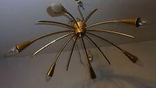 "Mid Century Stilnovo Sputnik Brass Chandelier Flush Mount Lamp Spider ø 27"" #<"