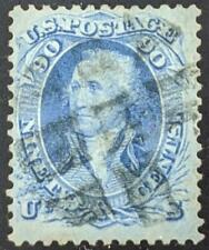 US Stamps #72 Used F/VF 1861 Blue 90c Washington, excellent choice stamp CV $600