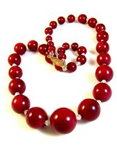 """Vintage Huge Cherry Red Glass & Crystal Beads 22"""" Necklace"""