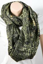 "Tolani 157 Crocodile Green Infinity Scarf Viscose/Silk 28"" x 80"""