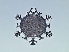 New 25MM Snowflake Silver Plated Cabochon Setting Pendant & Clear Cabochon DIY