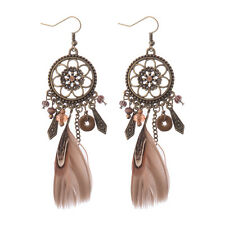 Women Vintage Bohemian Boho Hollow Carved Flower Crystal Feather Tassel Earrings