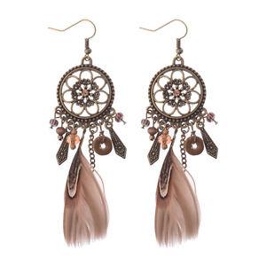 Women Vintage Bohemian Boho Hollow Carved Flower Crystal Feather Tassel Earrings