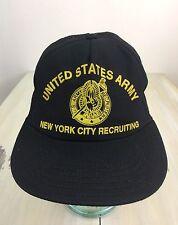 US ARMY NEW YORK CITY RECRUITING - Vtg 80s Black Mesh SnapBack Trucker Hat