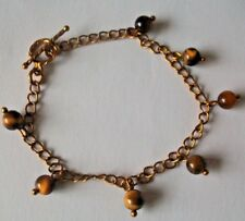 Yellow Tigers Eye Gemstone Charm Bracelet