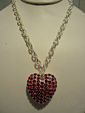 Red Crystal Stud On Silver Ton Big Heart Pendant Silver Tone Link Necklace