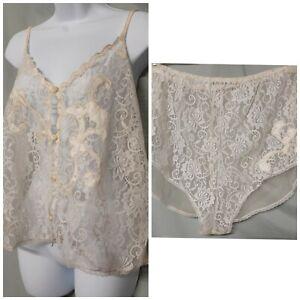 "Ventura Ivory Camisole Panty Set Lace  Bridal Gift Size 3X 48"" BUST"