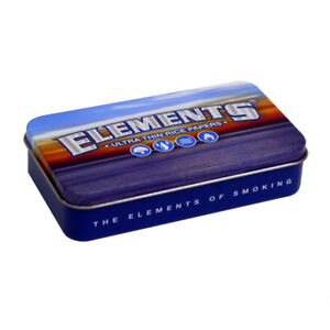 ELEMENTS BLUE 2oz METAL TOBACCO TIN LID GIFT BOX ULTRA THIN RICE ROLLING PAPERS