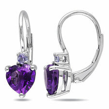 Sterling Silver Amethyst and Tanzanite Heart Earrings