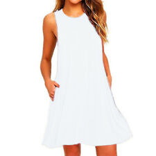 Women Sleeveless Midi Dress Solid Casual Party Tank Dress A-line Beach Sundress