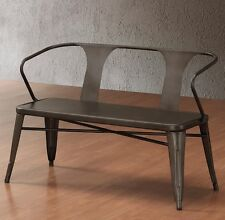 Rustic Metal Bench Foyer Bench for Entryway Seating with Back Dining Room NEW