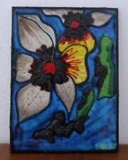CONTI ITALY  Pottery Keramik Platte Reliefplatte Flowers Fat Lava