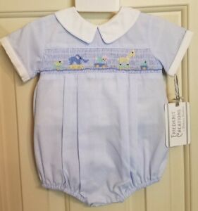 feltman brothers Friedknit baby boy smocked bubble- 3month