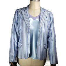 Dialogue Womens Striped Jacket and Cami Tank Set M Blue QVC A61036 Lace
